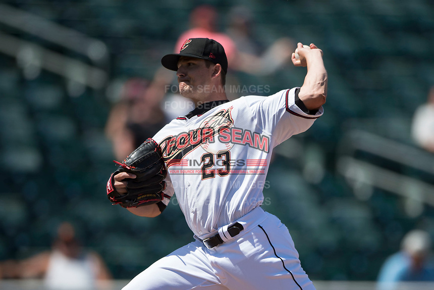 Sacramento RiverCats relief pitcher Manny Parra (23) delivers a pitch to the plate during a Pacific Coast League against the Tacoma Rainiers at Raley Field on May 15, 2018 in Sacramento, California. Tacoma defeated Sacramento 8-5. (Zachary Lucy/Four Seam Images)