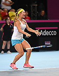 Yulia Putintseva (Kazakhstan) drops her raquet as she celebrates winning the match. Rubber 2. Great Britain v Kazakhstan. World group II play off in the BNP Paribas Fed Cup. Copper Box arena. Queen Elizabeth Olympic Park. Stratford. London. UK. 20/04/2019. ~ MANDATORY Credit Garry Bowden/Sportinpictures - NO UNAUTHORISED USE - 07837 394578
