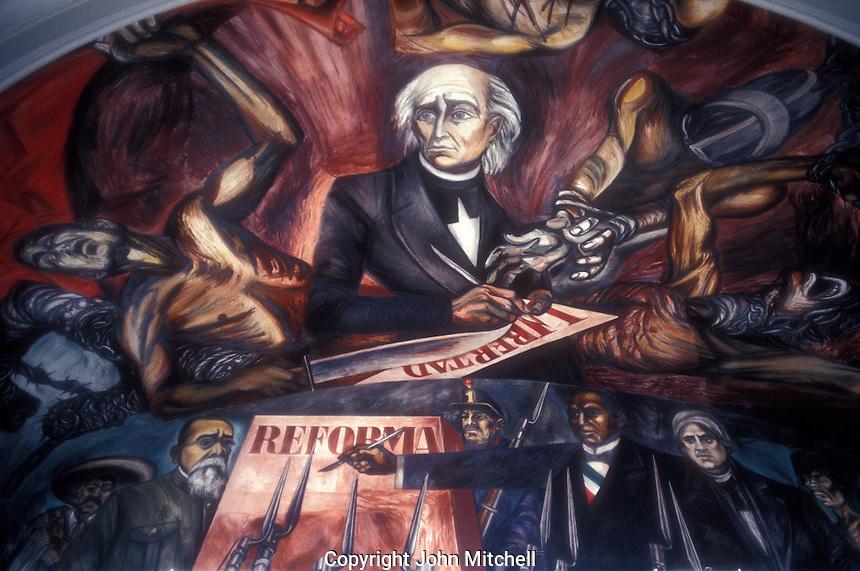 Mural by Jose Clemente Orozco showing Miguel Hidalgo and fathers of Mexican Independence, Palacio Nacional, Gudalajara, Mexico