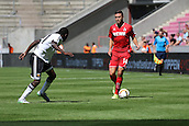 02.08.2015. Cologne, Germany. Pre Season Tournament. Colonia Cup. FC Cologne versus Valencia CF. Ibrahim Diallo keeping Jonas Hector at bay.