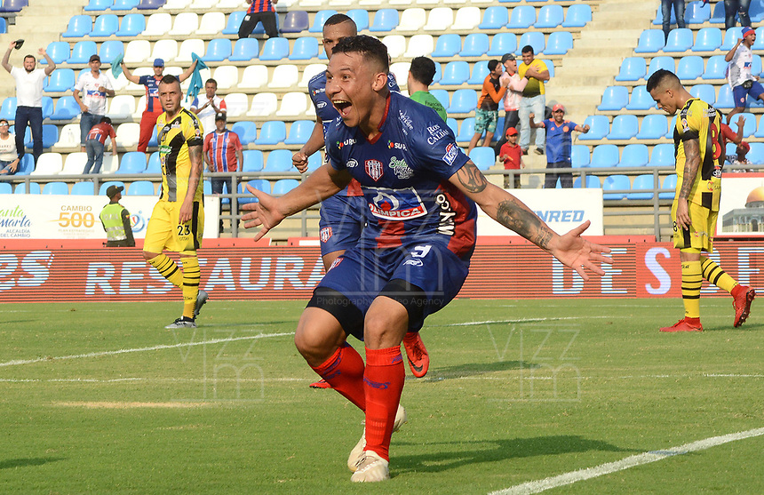 SANTA MARTA- COLOMBIA, 31-03-2019: Luis Carlos Arias  jugador del Unión Magdalena  celebra después de anotar un gol al  Alianza Petrolera  durante partido por fecha 12 de la Liga Águila I 2019 jugado en el estadio Sierra Nevada de la ciudad de Santa Marta. / Luis Carlos Arias player of Union Magdalena  celebrates after scoring a goal agaisnt of  Alianza Petrolera   during match for the date 12 as part of the  Aguila League  I 2019 played at the Sierra Nevada Stadium in Santa Marta  city. Photo: VizzorImage /Gustavo Pacheco / Contribuidor