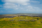 The imposing Dun Aengus Stone Fort, Inishmore, the Aran Islands, off Ireland's west coast. The fort is preched on a windswept 100-metre high cliff above the Atlantic waves. Thought to date to the 2nd century BC, it is surrounded by cheval de frise defences.