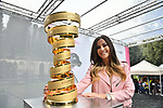 The Madrina with the Trofeo Senza Fine on display at sign on before Stage 5 of the 2019 Giro d'Italia, running 140km from Frascati to Terracina, Italy. 15th May 2019<br /> Picture: Massimo Paolone/LaPresse | Cyclefile<br /> <br /> All photos usage must carry mandatory copyright credit (© Cyclefile | Massimo Paolone/LaPresse)