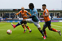 Blackpool's Nathan Delfouneso in action during todays match  <br /> <br /> Photographer Craig Mercer/CameraSport<br /> <br /> The EFL Sky Bet League Two Play-Off Semi Final Second Leg - Luton Town v Blackpool - Thursday 18th May 2017 - Kenilworth Road - Luton<br /> <br /> World Copyright &copy; 2017 CameraSport. All rights reserved. 43 Linden Ave. Countesthorpe. Leicester. England. LE8 5PG - Tel: +44 (0) 116 277 4147 - admin@camerasport.com - www.camerasport.com