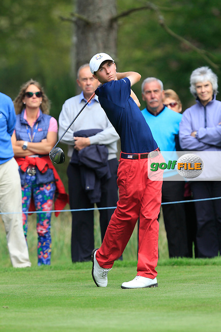 Austin Connelly (USA) on the 5th tee of the Mixed Fourballs, puts to go two up during the 2014 JUNIOR RYDER CUP at the Blairgowrie Golf Club, Perthshire, Scotland. <br /> Picture:  Thos Caffrey / www.golffile.ie