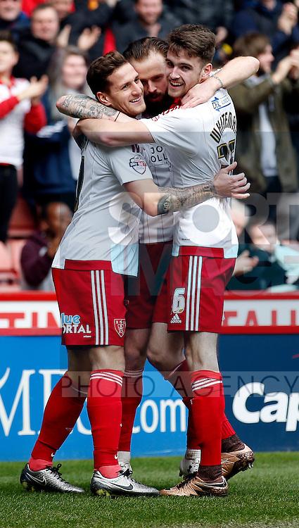 John Brayford of Sheffield Utd celebrates scoring the first goal during the Sky Bet League One match at The Bramall Lane Stadium. Photo credit should read: Simon Bellis/Sportimage