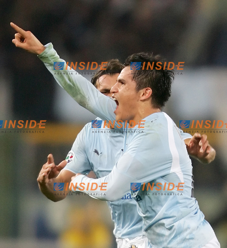 Lazio team group<br /> <br /> Italian &quot;Serie A&quot; 2006-07 <br /> <br /> 10 December 2006 (Match Day 15) <br /> <br /> Lazio Roma (3-0) <br /> <br /> &quot;Olimpico&quot; Stadium-Roma-Italy <br /> <br /> Cristian Daniel Ledesma celebrates after scoring with teammate Sebastiano Siviglia <br /> <br /> Esultanza di Cristian Daniel Ledesma con Sebastiano Siviglia<br /> <br /> Photographer Andrea Staccioli INSIDE