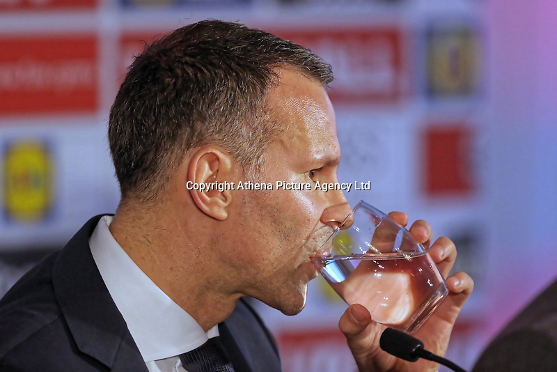 Ryan Giggs drinks water during the press conference during the Wales Unveiling  Of The New Manager at Hensol Castle, Vale of Glamorgan, Wales, UK. Monday 15 January 2018