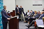 DAVIE, FL - JANUARY 28:  General manager Dennis Hickey, V.P. of Communications Jason Jenkins, Senior V.P. of Media relation Harvey Greene, Stephen, Ross, Vice Chairman Matt Higgins, Exc. VP of Football administration Dawn Aponte, C.E.O Tom Gartfinkel, Head Coach Joe Philbin attend The news conference to introduce Miami Dolphins new general manager Dennis Hickey at Miami Dolphins Davie training facility on January 28, 2014 in Davie, Florida. (Photo by Johnny Louis/jlnphotography.com)