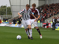 Arvydas Novikovas beaten by David van Zanten in the St Mirren v Heart of Midlothian Clydesdale Bank Scottish Premier League match played at St Mirren Park, Paisley on 15.9.12.