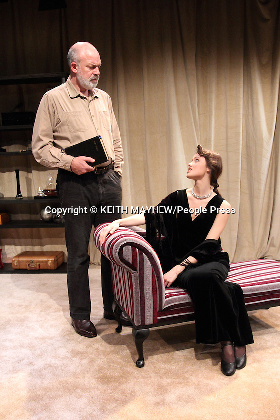 'The Green Bay Tree' at the Jermyn Street Theatre, London. Production cast of Christopher Leveaux (Julian), Poppy Drayton (Leonora), Richard Stirling (Mr Dulcimer), Richard Heap (Mr Owen) and Alister Cameron (Trump). Photocall November 26th 2014<br /> <br /> Photo by Keith Mayhew