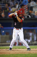 Batavia Muckdogs second baseman Mike Garzillo (3) at bat during a game against the State College Spikes on June 24, 2016 at Dwyer Stadium in Batavia, New York.  State College defeated Batavia 10-3.  (Mike Janes/Four Seam Images)