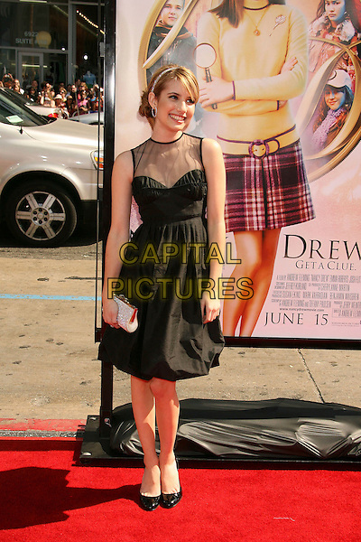 "EMMA ROBERTS.""Nancy Drew"" World Premiere held at Grauman's Chinese Theatre, Hollywood, California, USA, 09 June 2007..full length black dress sheer top clutch bag .CAP/ADM/RE.©Russ Elliot/AdMedia/Capital Pictures."