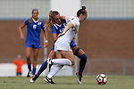 19 August 2016: Wofford's Hayley Younginer (in white) is defended by Duke's Schuyler DeBree (behind). The Duke University Blue Devils played the Wofford College Terriers in a 2016 NCAA Division I Women's Soccer match. Duke won the game 9-1.