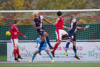 Alex Read of Harlow Town scores the opening goal with a glancing header during Harlow Town vs Dulwich Hamlet, Buildbase FA Trophy Football at The Harlow Arena on 11th November 2017