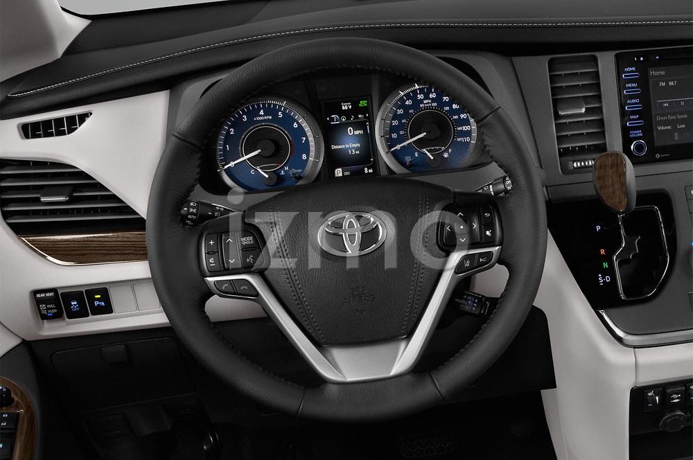 Car pictures of steering wheel view of a 2018 Toyota Sienna XLE 5 Door Mini Van