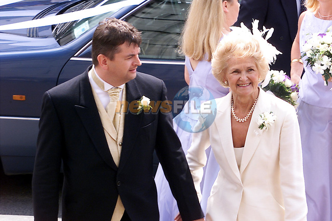Alison Conyn's brother Micheal and Mother Phyllis pictured at St Peters church in Drogheda where she married Malachy Murphy on Saturday..pic: Arthur Carron /Newsfile