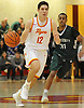 Michael O'Connell #12 of Chaminade dribbles downcourt during the fourth quarter of a CHSAA varsity boys basketball game against Holy Trinity at Chaminade High School in Mineola on Friday, Feb. 16, 2018. He scored 26 points to lead the Flyers to a 79-61 win.