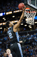 BROOKLYN, NY - Saturday December 19, 2015: Joel Berry II (#2) of North Carolina goes up for a lay-up against UCLA as the two square off in the CBS Classic at Barclays Center in Brooklyn, NY.