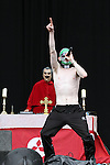 The Rubber Bandits on Day 3 with Cardinal Willie O' DJ and Altar Boy Dancers at the Oxegen Festival, Punchestown, Co.Kildare...(Photo credit should read Jenny Matthews www.newsfile.ie)....This Picture has been sent you under the conditions enclosed by:.Newsfile Ltd..The Studio,.Millmount Abbey,.Drogheda,.Co Meath..Ireland..Tel: +353(0)41-9871240.Fax: +353(0)41-9871260.GSM: +353(0)86-2500958.email: pictures@newsfile.ie.www.newsfile.ie.