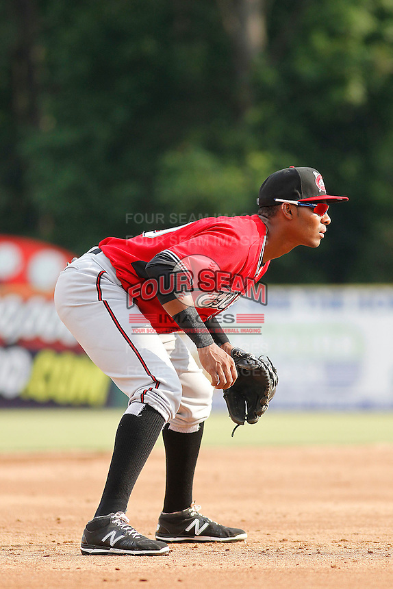 Carolina Mudcats third baseman Carlos Franco (10) in the field during game one of a doubleheader against the Myrtle Beach Pelicans at Ticketreturn.com Field at Pelicans Ballpark on June 6, 2015 in Myrtle Beach, South Carolina. Carolina defeated Myrtle Beach 1-0. (Robert Gurganus/Four Seam Images)