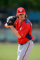 Washington Nationals pitcher Jeff Mandel #61 during a minor league Spring Training game against the Detroit Tigers at Tiger Town on March 22, 2013 in Lakeland, Florida.  (Mike Janes/Four Seam Images)