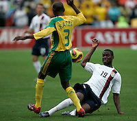 USA's Maurice Edu and South Africa's Ricardo Katza during second half action between the national teams of South Africa (RSA) and the United States (USA) in an international friendly dubbed the Nelson Mandela Challenge at Ellis Park Stadium in Johannesburg, South Africa on November 17, 2007. The United States defeated South Africa 1-0.