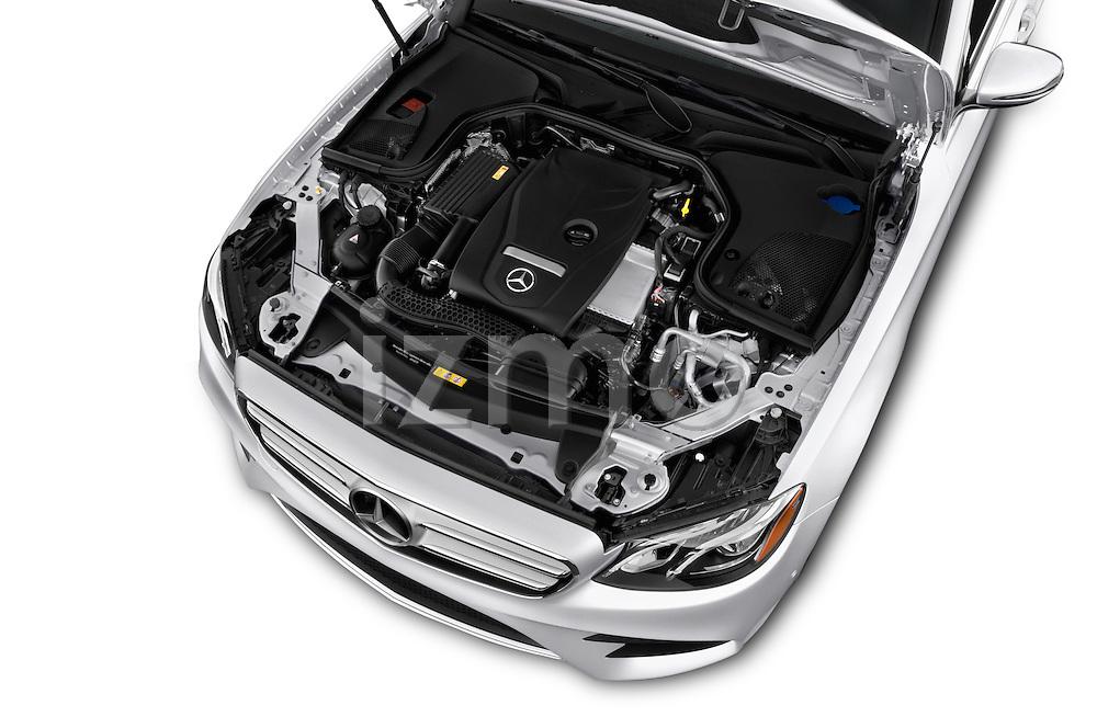 Car Stock 2017 Mercedes Benz E-Class E300 4 Door Sedan Engine  high angle detail view