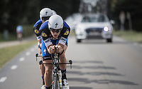 Niki Terpstra (NED/Etixx-QuickStep) leading his Team Etixx-QuickStep teammates<br /> <br /> 12th Eneco Tour 2016 (UCI World Tour)<br /> stage 5 (TTT) Sittard-Sittard (20.9km) / The Netherlands