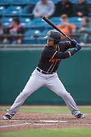 Modesto Nuts left fielder Jansiel Rivera (13) at bat during a California League game against the San Jose Giants at San Jose Municipal Stadium on May 15, 2018 in San Jose, California. Modesto defeated San Jose 7-5. (Zachary Lucy/Four Seam Images)
