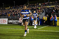 Beno Obano and the rest of the Bath Rugby team run out onto the field. Aviva Premiership match, between Bath Rugby and Wasps on December 29, 2017 at the Recreation Ground in Bath, England. Photo by: Patrick Khachfe / Onside Images