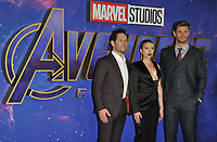 """Paul Rudd, Scarlett Johansson and Chris Hemsworth at the """"Avengers: Endgame"""" UK fan event, Picturehouse Central, Corner of Shaftesbury Avenue and Great Windmill Street, London, England, UK, on Wednesday 10th April 2019. <br /> <br /> CAP/CAN<br /> ©CAN/Capital Pictures"""