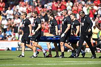 Charlie Daniels of AFC Bournemouth gets stretched off the field after injury during AFC Bournemouth vs Manchester City, Premier League Football at the Vitality Stadium on 25th August 2019
