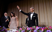 United States President Barack Obama waves after he speaks during the White House Correspondents' Association annual dinner on April 30, 2016 at the Washington Hilton hotel in Washington.This is President Obama's eighth and final White House Correspondents' Association dinner.<br /> Credit: Olivier Douliery / Pool via CNP