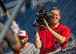 28 April 2017: MASN Video Cameraman Christian Neuner captures batting practice prior to a game between the Washington Nationals and the New York Mets at Nationals Park in Washington, DC. The Mets defeated the Nationals 7-5 to take the first game of their 3-game weekend series. Mandatory Credit: Ed Wolfstein Photo *** RAW (NEF) Image File Available ***