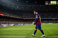 29th October 2019; Camp Nou, Barcelona, Catalonia, Spain; La Liga Football, Barcelona versus Real Valladolid; Lionel Messi goes to take a corner kick during La Liga match against Valladolid - Editorial Use