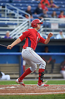 Williamsport Crosscutters first baseman Brendon Hayden (43) at bat during a game against the Batavia Muckdogs on August 29, 2015 at Dwyer Stadium in Batavia, New York.  Williamsport defeated Batavia 7-3.  (Mike Janes/Four Seam Images)