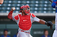 AZL Reds catcher Jose Tello (40) during an Arizona League game against the AZL Cubs 2 on July 23, 2019 at Sloan Park in Mesa, Arizona. AZL Cubs 2 defeated the AZL Reds 5-3. (Zachary Lucy/Four Seam Images)