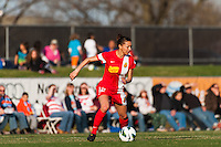Western New York Flash defender Estelle Johnson (12). Sky Blue FC defeated the Western New York Flash 1-0 during a National Women's Soccer League (NWSL) match at Yurcak Field in Piscataway, NJ, on April 14, 2013.
