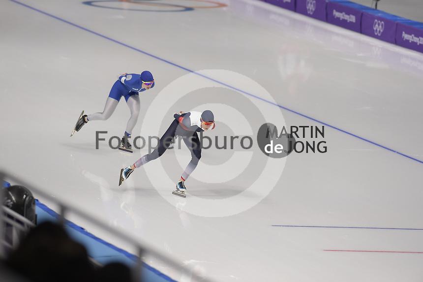 OLYMPIC GAMES: PYEONGCHANG: 16-02-2018, Gangneung Oval, Long Track, 5.000m Ladies, Natalya Voronina (OAR), Martina Sabliková (CZE), ©photo Martin de Jong