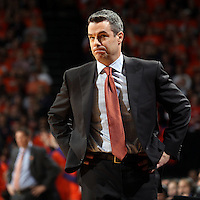 Virginia head coach Tony Bennett reacts to a call during an ACC basketball game against Clemson Tuesday Jan. 19, 2016, in Charlottesville, Va. (Photo/Andrew Shurtleff)