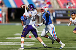 East Carolina Pirates quarterback Holton Ahlers (12) in action during the game between the East Caroline Pirates  and the SMU Mustangs at the Gerald J. Ford Stadium in Fort Worth, Texas.