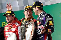 MELBOURNE, AUSTRALIA, 17 MARÇO 2013 - F1 - GP DA AUSTRALIA - o piloto espanhol Fernando Alonso (e),  piloto filandes Kimi Raeikkoenen (c ) e piloto alemao Sebastina Vettel (d)  durante o GP da Austrália, em Albert Park, Melbourne, neste domingo (17). (FOTO: PIXATHLON / BRAZIL PHOTO PRESS).