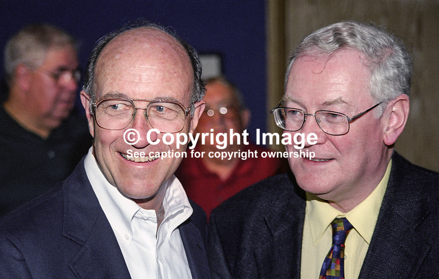 Michael J Sullivan, US Ambassador to Ireland, left, and Professor George Watson, N Ireland born director of Yeats Summer School, Sligo, Rep of Ireland. Ref: 199908064.<br />
