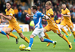 Motherwell v St Johnstone&hellip;13.08.16..  Fir Park  SPFL<br />Danny Swanson is tracked by Richie Tait as he runs at the well defence<br />Picture by Graeme Hart.<br />Copyright Perthshire Picture Agency<br />Tel: 01738 623350  Mobile: 07990 594431