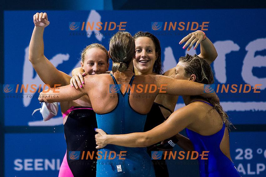 Chiara Masini Luccetti, Stefania Pirozzi, Alice Mizzau, Federica Pellegrini Italy ITA<br /> 4X200 Freestyle Women Final Gold Medal<br /> 32nd LEN European Championships <br /> Berlin, Germany 2014  Aug.13 th - Aug. 24 th<br /> Day09 - Aug. 21<br /> Photo A.Masini/Deepbluemedia/Inside