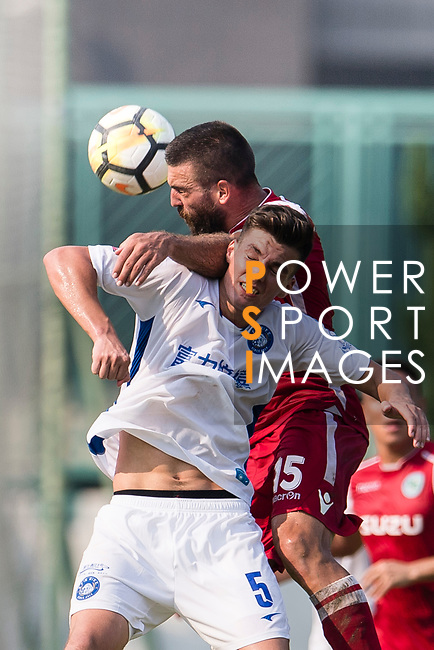 Lilley Nunez of R&F F.C (R) fights for the ball with Marc Martinez of Kwoon Chung Southern (L) during the week three Premier League match between Kwoon Chung Southern and R&F at Aberdeen Sports Ground on September 16, 2017 in Hong Kong, China. Photo by Marcio Rodrigo Machado / Power Sport Images