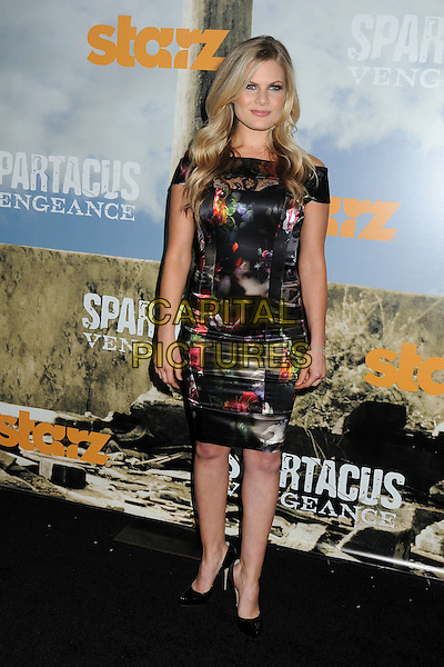 "Bonnie Sveen.""Spartacus: Vengeance"" Premiere Screening held at Arclight Cinemas, Hollywood, California, USA..January 18th, 2012.full length black print dress lace floral .CAP/ADM/BP.©Byron Purvis/AdMedia/Capital Pictures."