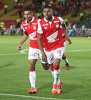 BOGOTA -COLOMBIA, 30- OCTUBRE-2014. Wilson Morelo de Independiente  Santa Fe celebra su gol contra el Atletico Junior  durante partido   de La Copa  Postobón  semifinal partido de vuelta 2014-2. Estadio  Nemesio Camacho El Campin   /Wilson Morelo of Independiente Santa Fe celebrates his goal against  of Atletico Junior  during La Copa   Postobón  semifinal match  2014-2.  Nemesio Camacho El Campin stadium . Photo: VizzorImage / Felipe Caicedo / Staff