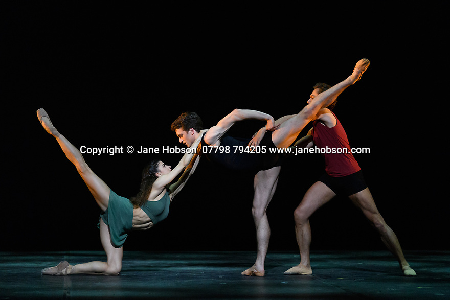 """London, UK. 07.04.19. Ivan Putrov presents """"Against the Stream"""", a mixed bill of ballet, at the London Coliseum.  The piece shown is: """"Images of Love"""". choreographed by Sir Kenneth MacMillan. The dancers are: Mathew Ball, Mayara Magri and Ivan Putrov. <br /> Photograph © Jane Hobson."""